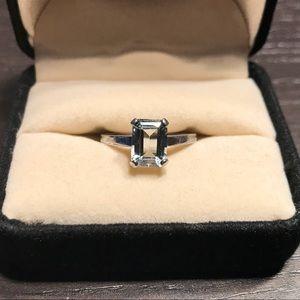 Aquamarine minimalist sterling silver .925 ring